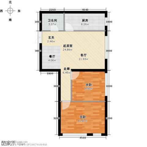 开美国际2室0厅1卫1厨79.00㎡户型图