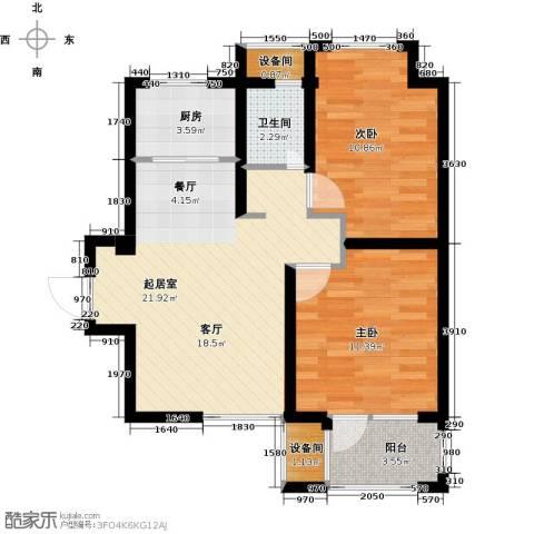 荣盛・香缇澜山2室0厅1卫1厨78.00㎡户型图