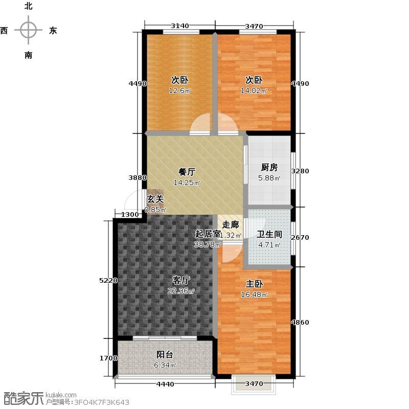 晨巍佳欣二期115.96㎡4-C3户型三室两厅一卫户型3室2厅1卫