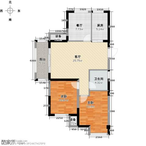 金科中心2室2厅1卫1厨90.00㎡户型图