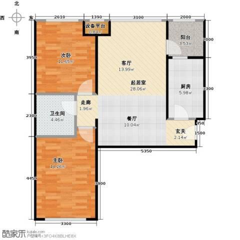 珠江东都国际2室0厅1卫1厨84.00㎡户型图