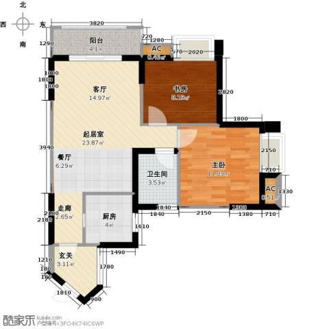 翰城国际2室0厅1卫1厨87.00㎡户型图