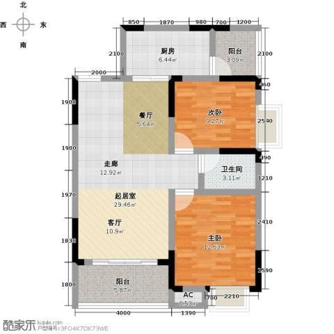 梓湖东城2室0厅1卫1厨102.00㎡户型图