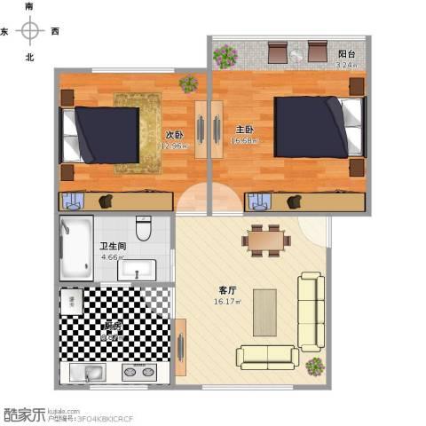 德胜新村南2室1厅1卫1厨77.00㎡户型图