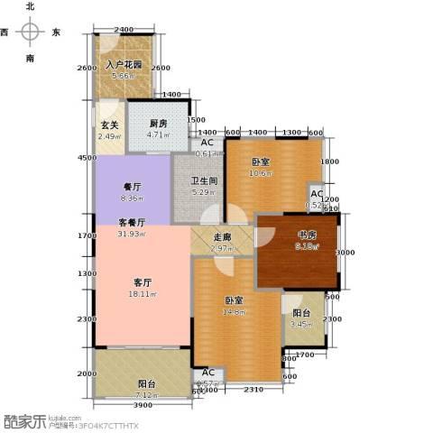 城央一品1室1厅1卫1厨128.00㎡户型图