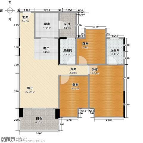 大自然广场1厅2卫1厨90.00㎡户型图