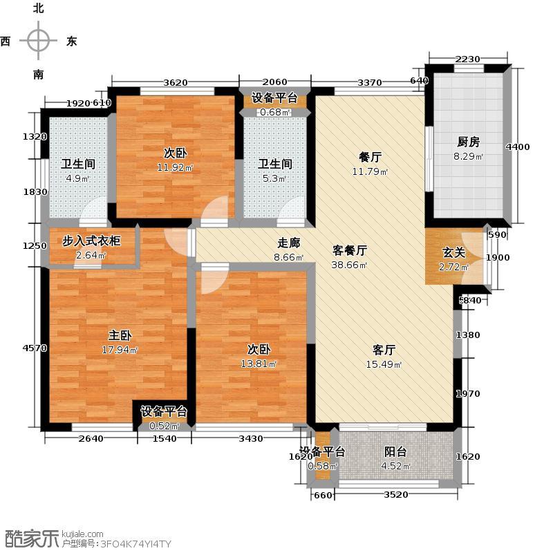 金海名园127.00㎡E户型3室2厅2卫