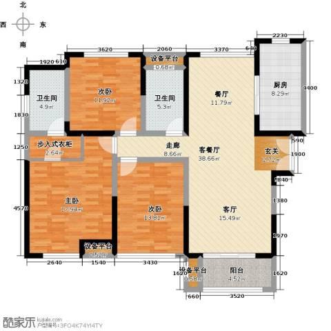 金海名园3室1厅2卫1厨127.00㎡户型图
