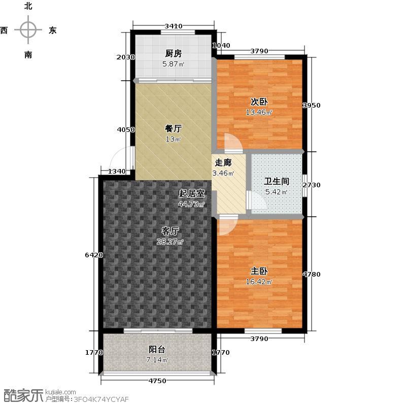 清山公爵城108.00㎡9号楼A户型2室2厅1卫