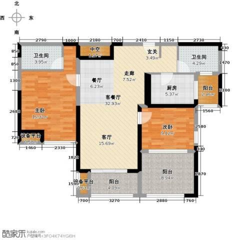金海名园2室1厅2卫1厨105.00㎡户型图