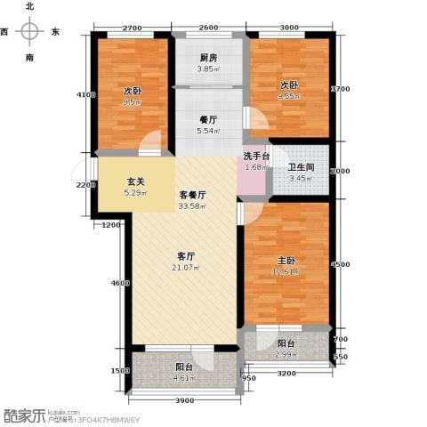 恒景・溪山壹�3室1厅1卫1厨116.00㎡户型图