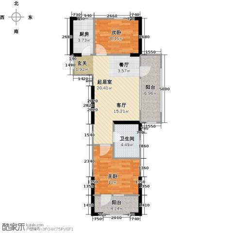 中央学府2室0厅1卫1厨79.00㎡户型图