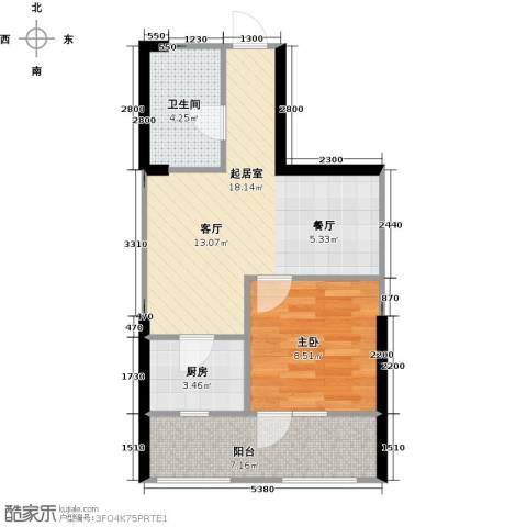 中央学府1室0厅1卫1厨55.00㎡户型图