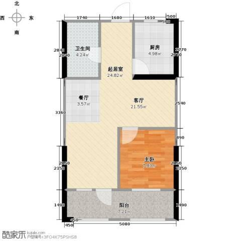 中央学府1室0厅1卫1厨65.00㎡户型图