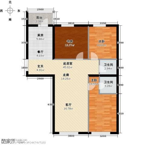 开美国际3室0厅2卫0厨129.00㎡户型图