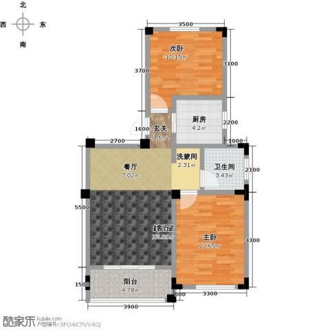 晟地绿园2室0厅1卫1厨76.00㎡户型图