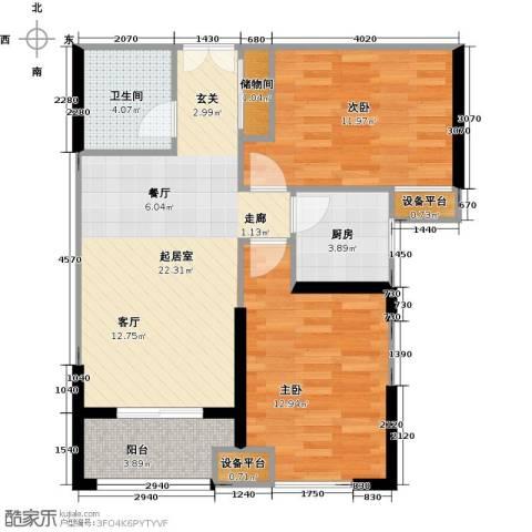 新贵华城三期2室0厅1卫1厨81.00㎡户型图