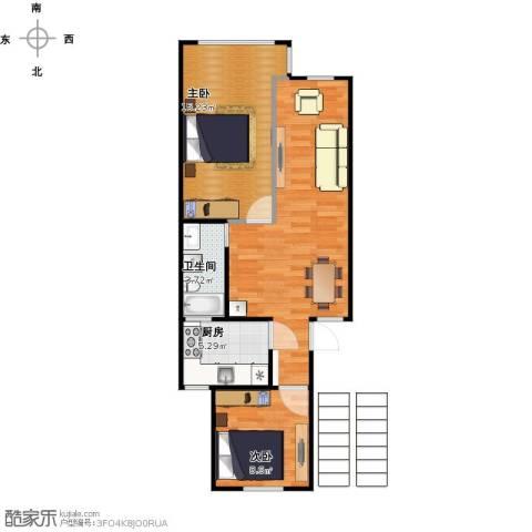 通河八村2室1厅1卫1厨88.00㎡户型图