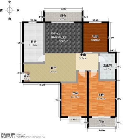 兆通华苑3室0厅1卫1厨129.00㎡户型图