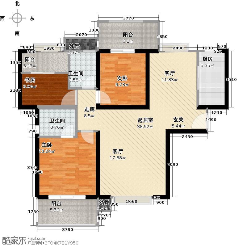 禹洲城市广场-T户型3室2卫1厨