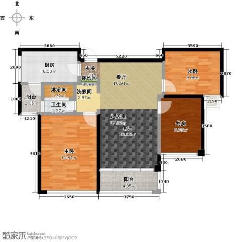 泰峰金谷园3室0厅1卫1厨92.00㎡户型图