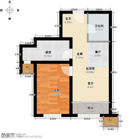 经纬城市绿洲武清二期1室0厅1卫1厨67.00㎡户型图
