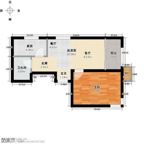 经纬城市绿洲武清二期1室0厅1卫1厨60.00㎡户型图