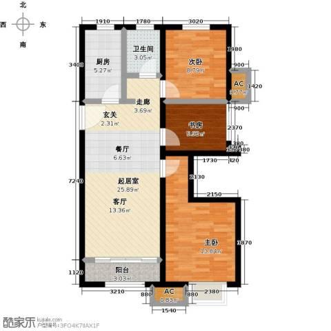 经纬城市绿洲武清二期3室0厅1卫1厨96.00㎡户型图