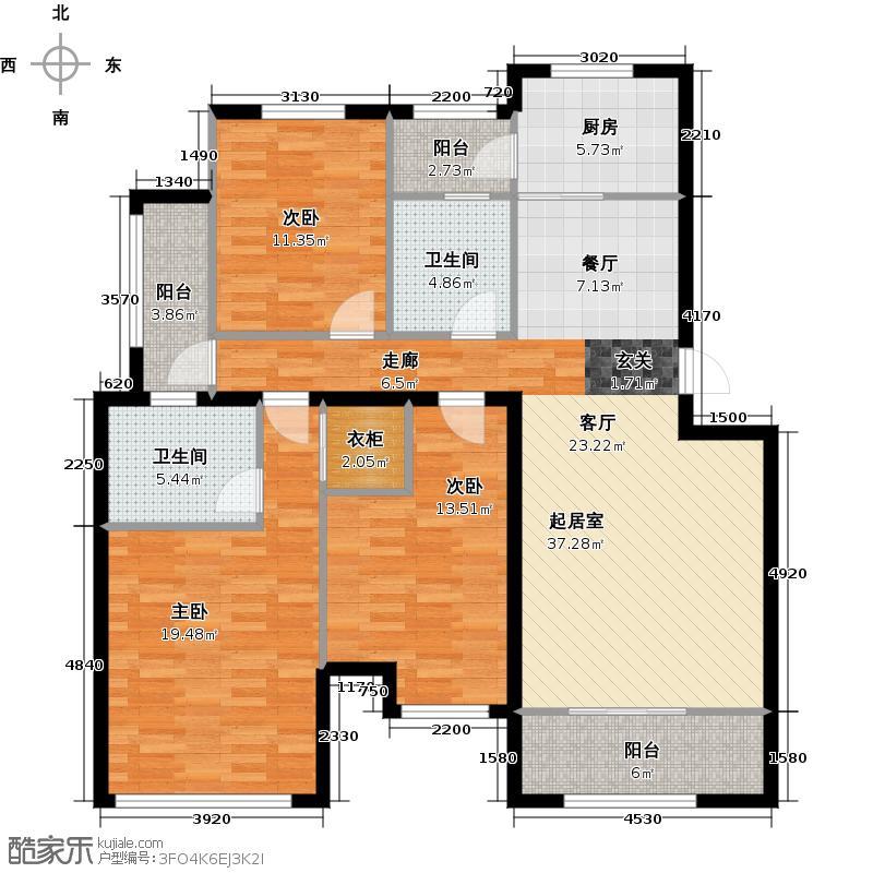 远洋世界126.00㎡J2户型 三房二厅二卫户型3室2厅2卫