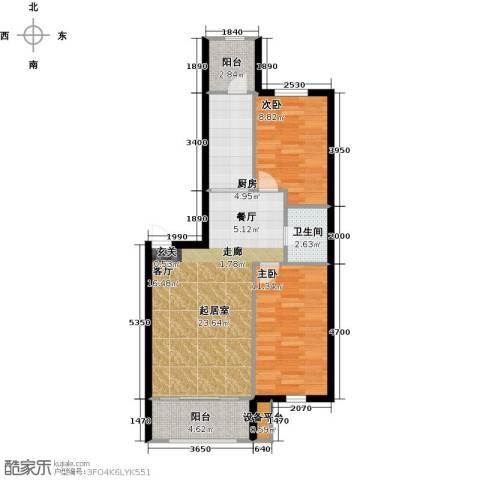 V时代2室0厅1卫1厨84.00㎡户型图