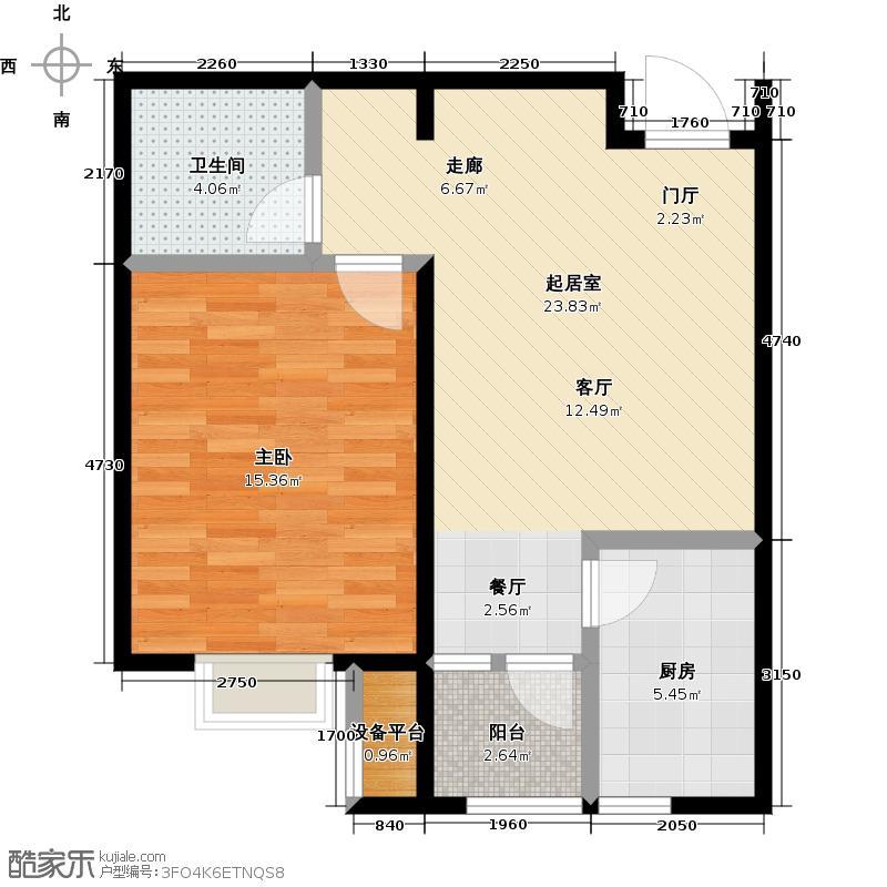 中铁滨海欣城59.87㎡D户型1室1厅1卫