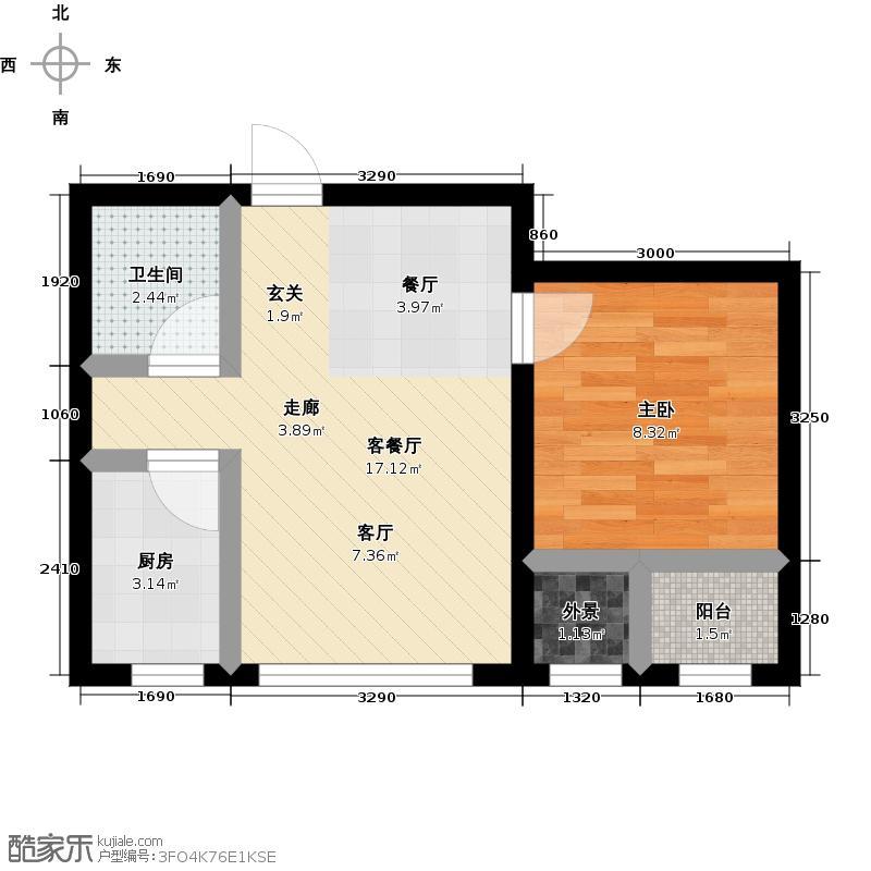 泓林金色地标三期17#楼住宅C户型 使用面积约34.34平米户型