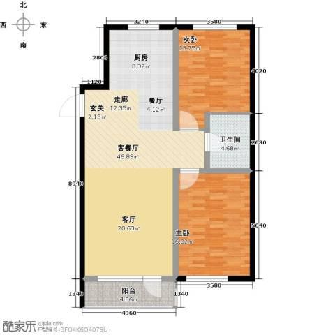 元基首府2室1厅1卫0厨120.00㎡户型图