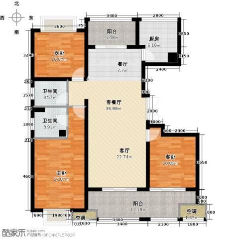 邦泰中央御城3室1厅2卫1厨142.00㎡户型图