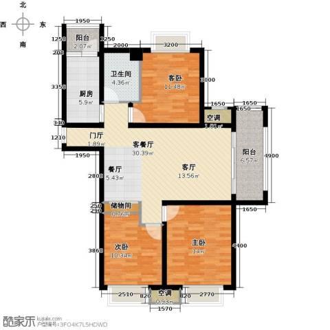 邦泰中央御城3室1厅1卫1厨116.00㎡户型图
