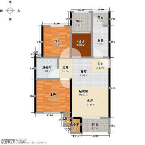 北大资源・理城3室0厅1卫1厨89.00㎡户型图