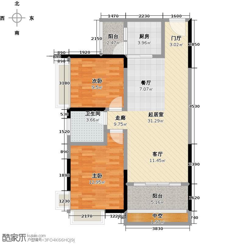 宏桂东�81.00㎡81平2+1房户型3室2厅1卫