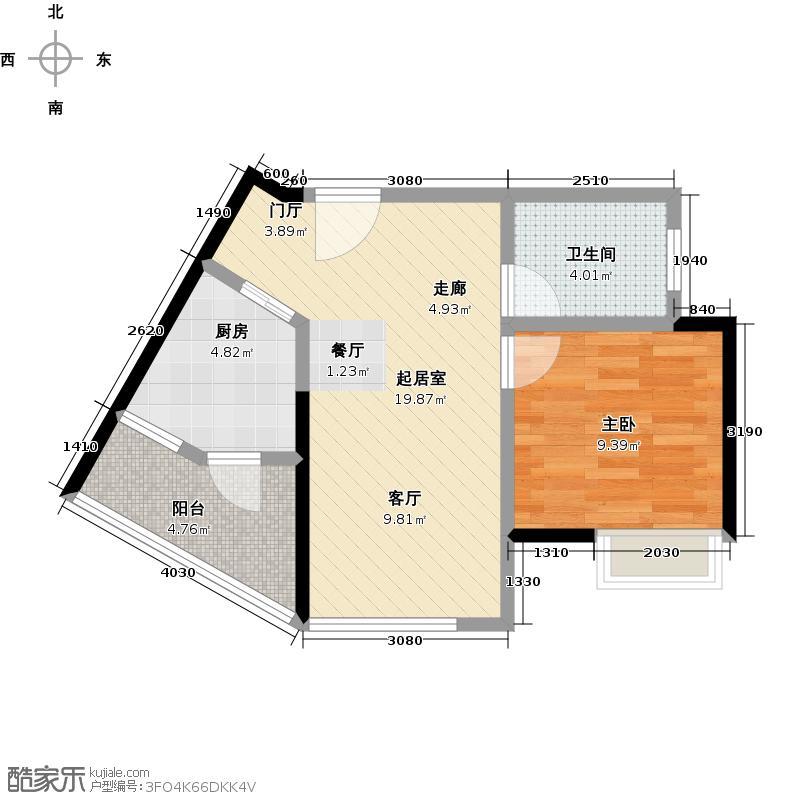 宏桂东�48.83㎡48平1房户型1室2厅1卫