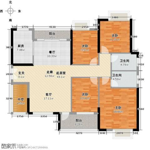 九江中航城4室0厅2卫1厨140.00㎡户型图