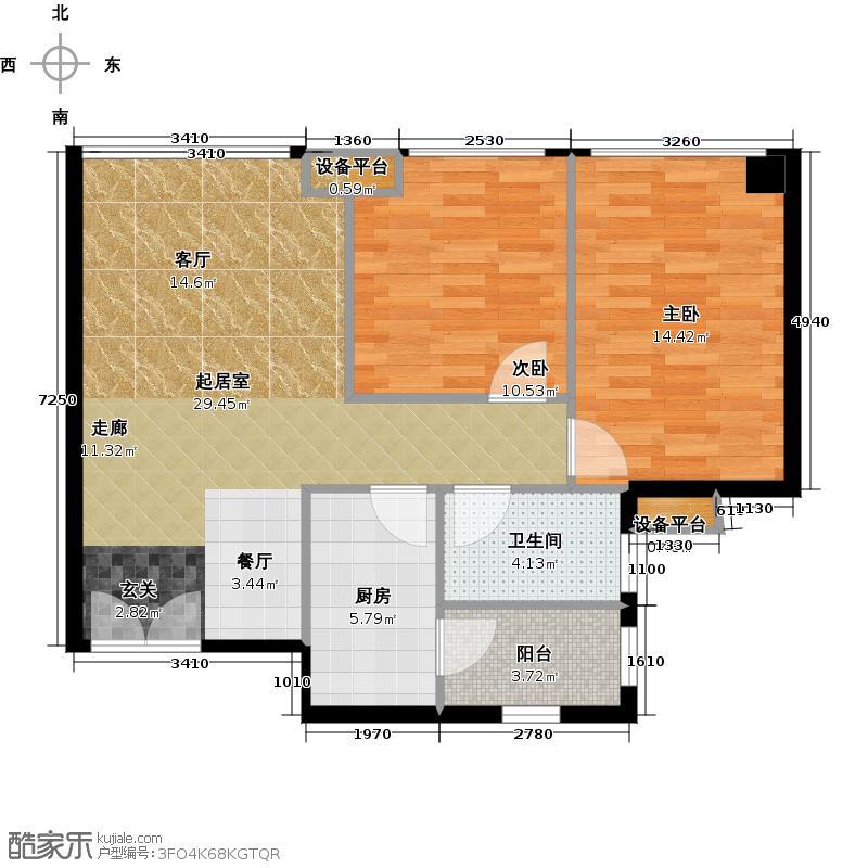 奥园养生广场标准示范户型2室1卫1厨