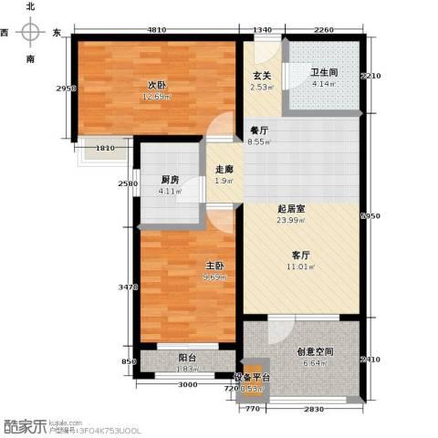 中铁秦皇半岛2室0厅1卫1厨82.00㎡户型图