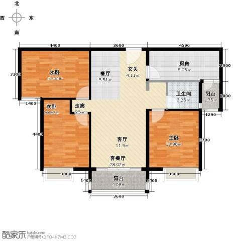 天泰华府3室1厅1卫1厨111.00㎡户型图