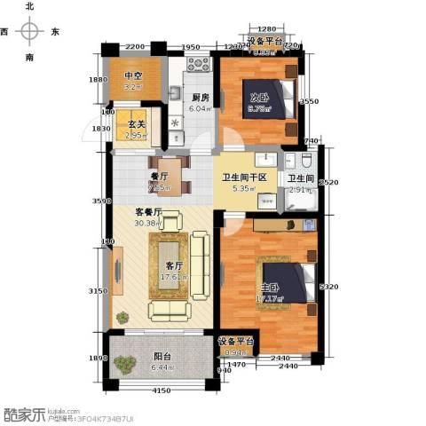 风尚米兰2室1厅1卫1厨89.00㎡户型图