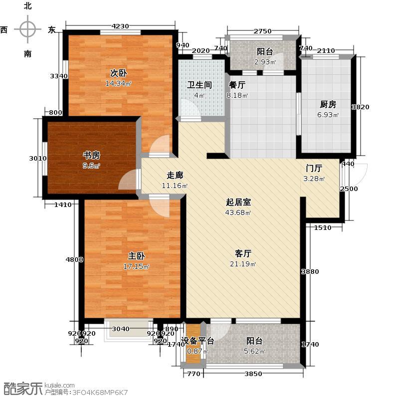 中铁滨海欣城117.85㎡E户型3室2厅1卫