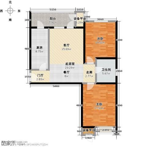 荔隆观邸2室0厅1卫1厨98.00㎡户型图