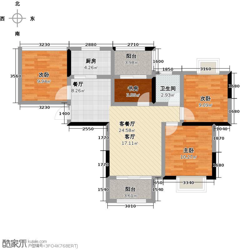 尚湖熙园户型4室1厅1卫1厨