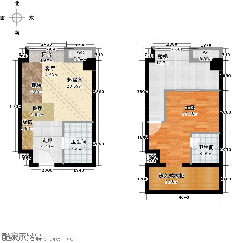 YOHO湾56.00㎡复式户型D6-10户型1室2厅2卫
