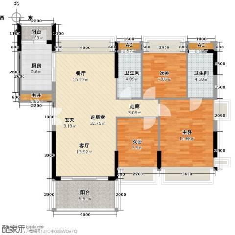万好美域3室0厅2卫1厨120.00㎡户型图