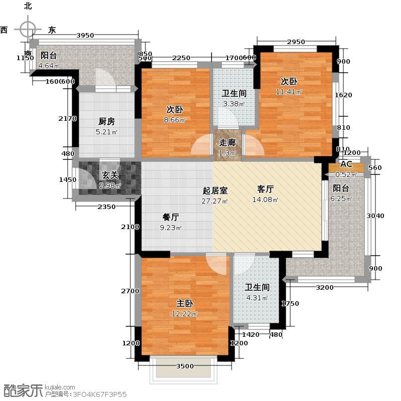 九龙仓时代小镇106.00㎡B2户型3室1厅2卫QQ