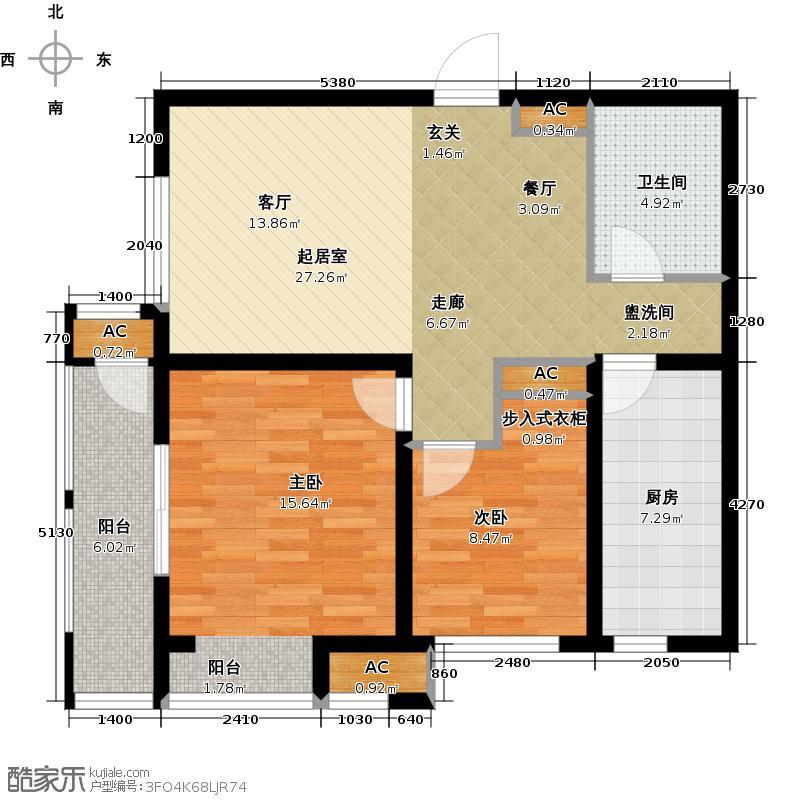 龙湖滟澜海岸霖珑83.00㎡D户型2室2厅1卫